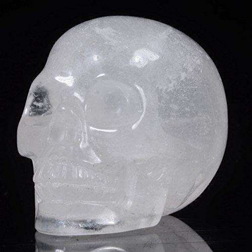 Mineralbiz New Design! 1.8 - 2 Length Natural Clear Quartz Carved Crystal Gemstone Human Skull Head Carving Sculpture