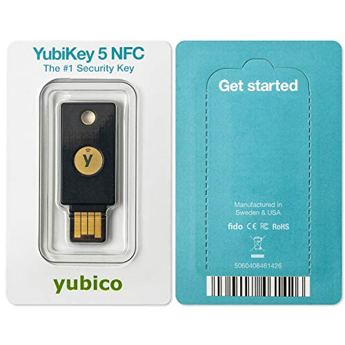 Yubico - YubiKey 5 NFC - Two Factor Authentication USB and NFC Security Key, Fits USB-A Ports and Works with Supported NFC Mobile Devices - Protect Your Online Accounts with More Than a Password - 5