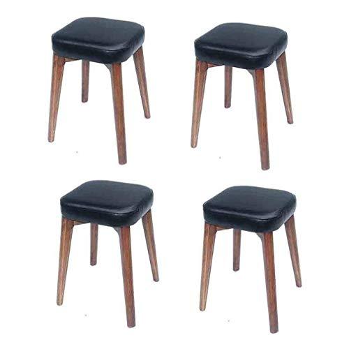 LJ Taburete Silla Taburetes apilables Diseño de refuerzo Taburete de comedor de madera maciza sin respaldo Banco acolchado cuadrado de imitación de cuero (paquete de 4),Negro,si
