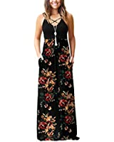 LILBETTER Women's Sleeveless Long Maxi Dresses Plus Size with Side Pockets(Jie-Brown Floral Black,X-Small)