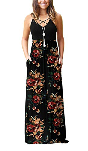 LILBETTER Women's Sleeveless Long Maxi Dresses Plus Size with Side Pockets(Jie-Brown Floral Black,Small)