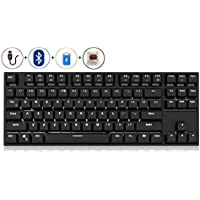Royal Kludge RK987 N-key Rollover Ergonomic Design,Cool Exterior USB Wired PBT Keycaps White Backlit Keyboard for Gaming and Office