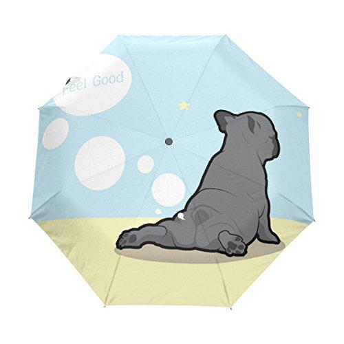 Naanle French Bulldog Do Yoga Fart Auto Open Close Foldable Windproof Travel Umbrella