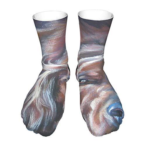 Calcetines para adultos, calcetines largos de algodón, calcetines gruesos de tacón negro, calcetines cálidos, unisex, 713 cm, pintura artística irlandesa