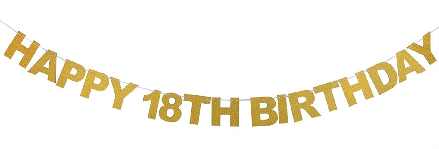 INNORU? Happy 18th Birthday Banner Gold Glitter Letters Hang Bunting - 18th Birthday Party Decorations Supplies