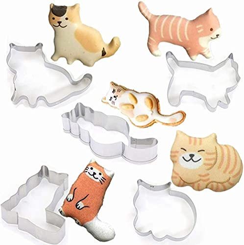 EPRHY Juego de 5 cortadores de galletas para gatos, de acero inoxidable, con forma de animal de dibujos animados, moldes para galletas de cocina