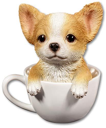 Süßer Chihuahua Welpe in Tasse   Hund Figur Deko lustig witzig Geschenk