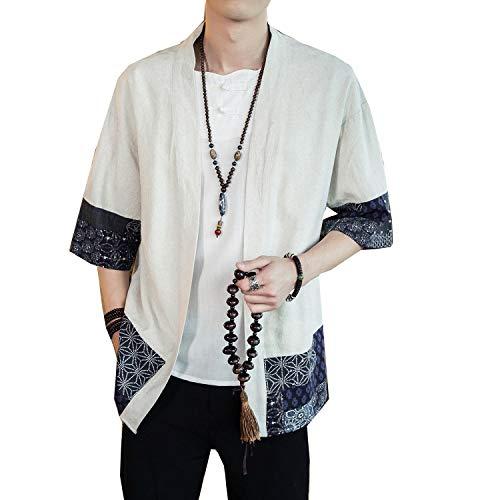 Siehin Herren Japan Happi Kimono Haori Jacke Übergangsjacke Baumwolle Leinen Mäntel (M (Label:XL), Weiß)