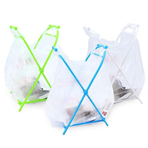 ShawFly Trash Bag Stand, Faltbarer Boden Aufbewahrungsregal Müllsack Kleiderbügel Tragetaschenhalter Küchenboden Müllregal für Küche oder Bad