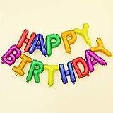 Ponmoo Foil Palloncini Happy Birthday Banner Kit - Multicolore, Bandiera di Buon Compleanno Palloncini Festa Decorazioni, Festa di Compleanno Scritta Palloncino Happy Birthday per Adulti Bambini