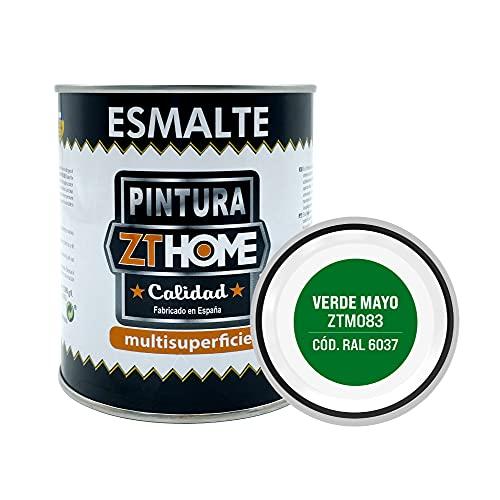Pintura Verde Mayo Interior / Exterior / Multisuperfie para azulejos baño cocina , madera, puertas, metal, radiadores, muebles, ceramica / Esmalte sintentico en 375 ml / RAL 6037