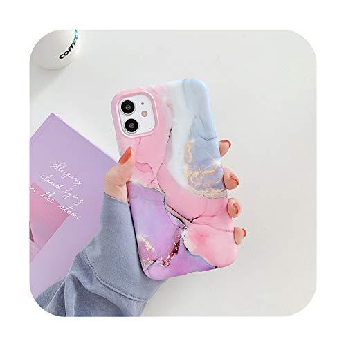 BSbattle Caja colorida del teléfono de la piedra de la textura de mármol de la moda para el iPhone 11 Pro Max12 Pro Max X XR XS Max 7 8 Plus suave IMD contraporta-IU0871-para el iPhone 12 Mini