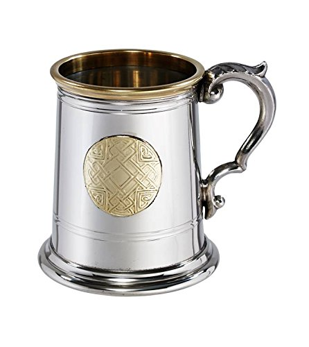 Wentworth Pewter - Half Pint'Celtic Gold' Pewter and Brass Tankard, Beer Mug