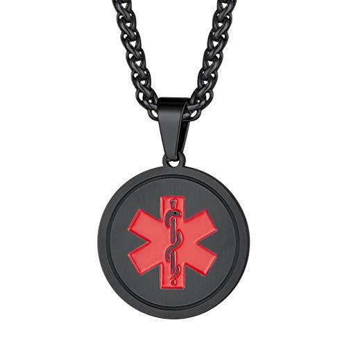PROSTEEL Medical Alert ID Kette personalisiert Unisex Schmuck schwarz Edelstahl Runde Anhänger mit SOS Symbol Stern des Lebens Notfall Alzheimer Herzerkrankungen