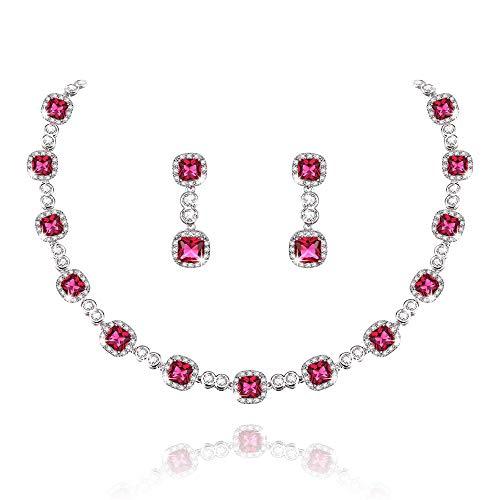 Collar Pendientes Diamante de Imitación Mujeres Conjunto de Joyas Boda
