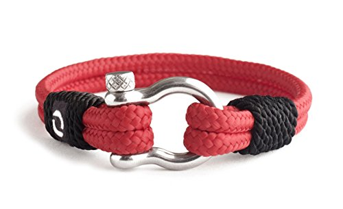 Red Rope Bracelet for Mens and Womens Steel Screw Barrel Shackles Nautical Armband Sailor Style Bright Red Paracord Cord Wrap Bracelet Wristband 7-15