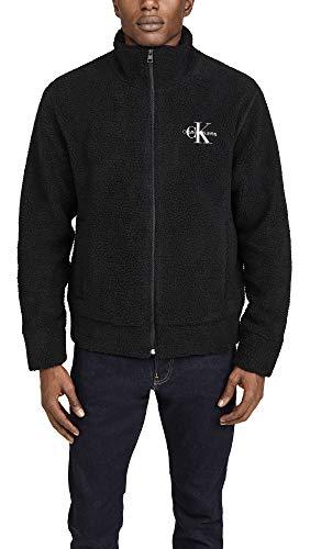 Calvin Klein Men's Sherpa Fleece Zip Up Logo Sweatshirt, Black, 2X-Large
