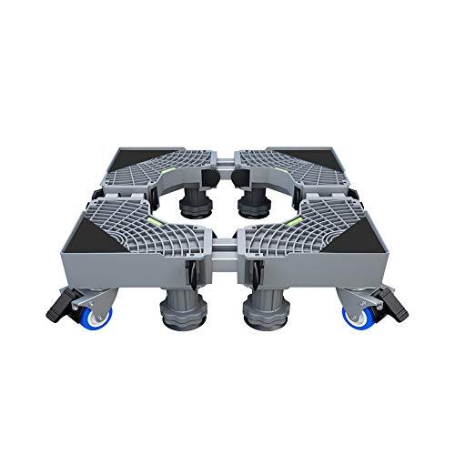 Verdelife Base de soporte para lavadora con polea y soporte para lavadora, soporte de freno extraíble universal para lavadora y frigorífico.