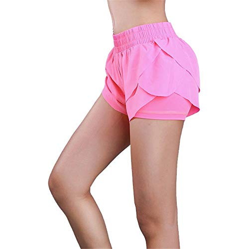QINB Gym Sports Yoga Shorts Mujer/Anti-iluminación Doble Capa de Secado rápido Running Sports Shorts Mujer/Yoga Respirable Cómodo Sports Hot Pants, Rose Red, S