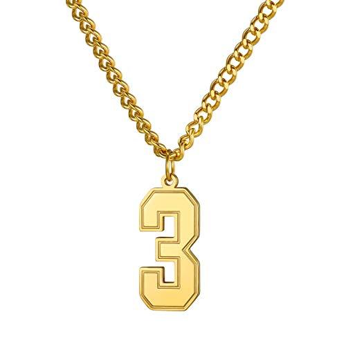 GoldChic Personalizable Colgante Numero de Suerte Oro baño Collar con Colgante Número de Fútbol Baloncesto