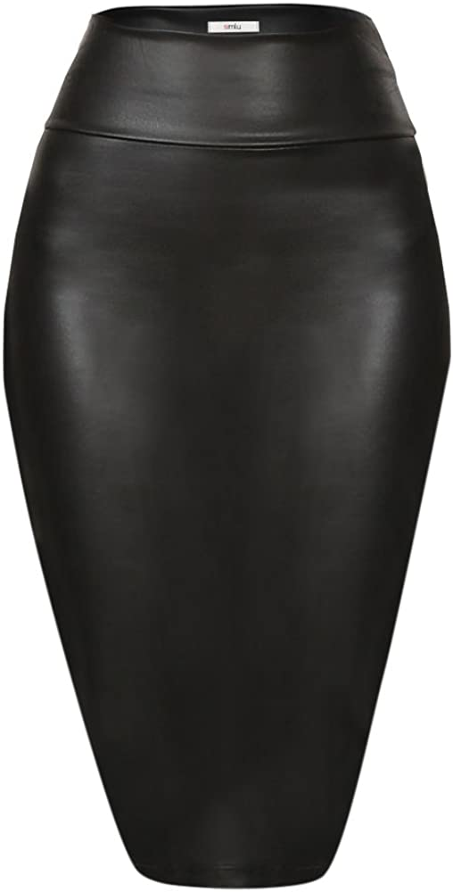 Faux Leather Pencil Skirt Below Knee Length Skirt Midi Bodycon Skirt Womens