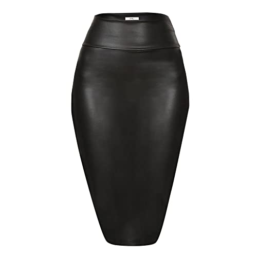 ed28f6543 Faux Leather Pencil Skirt Below Knee Length Skirt Midi Bodycon Skirt for  Womens, USA