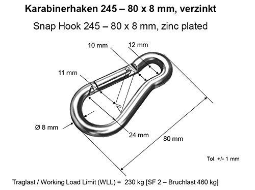 2 Karabinerhaken Karabiner Haken Schnapphaken 80x8mm V