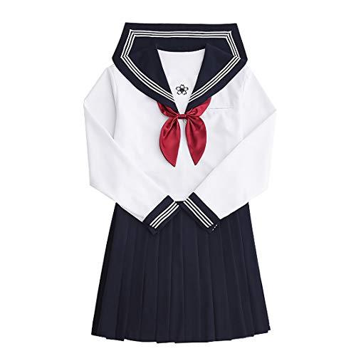 Larcele Vestito Uniforme Scolastico Uniforme Scolastica Giapponese Vestito da Marinaio Blu Scuro SSF-01 (XL)