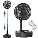 Koonie 8-Inch Foldaway Oscillating Fan with Remote Control, 7200mAh Rechargeable Battery Operated Pedestal Fan for Bedroom, Timer, 4 Speed, Fast Charging Folding Table Fan for Camping, Outdoor, Room