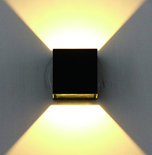 Dalux® Aluminium LED Außen-Wandleuchte Tarent 6W Wandlampe in Würfelform schwarz 165lm 3000K Hausbeleuchtung Leuchte