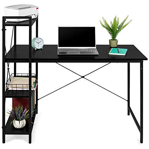 Best Choice Products 48in Computer Desk & 4-Tier Shelf, Modular Workstation, Open Storage Bookshelf Furniture for Home Office, Dorm Room w/Iron Frame, Adjustable Feet, Removable Shelf - Black