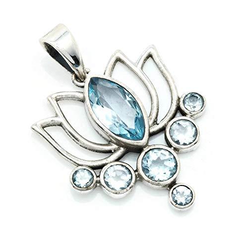 Kettenanhänger Amulett Silber 925 Sterlingsilber Blau Topas blau Stein (Nr: MAH 138-62)