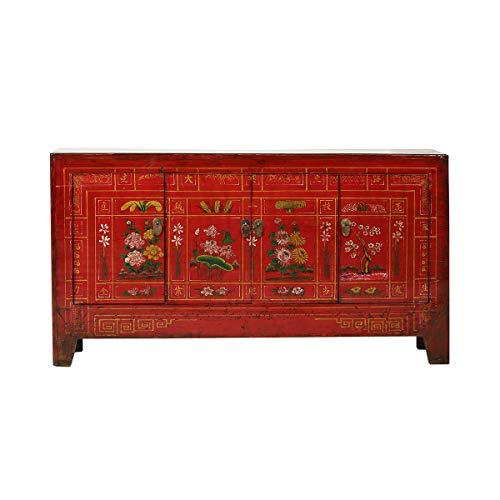 Yajutang Antikes Sideboard aus China 4 Türen bemalt rot