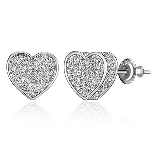 Screw Back Earring Hyperallergenic Stud Earrings for Women With 3A Cubic Zirconia TwoTone Micropave Hip Hop Jewelry (heart silver)