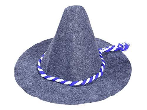 Alsino Sepplhut Trachtenhut Räuberhut - Höhe: 33 cm, Material: Filz, blau-weißes Kordelband