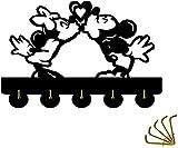 Ganchos para puerta con diseño de Mickey y Minnie's Love de Disney Mickey Mouse, perchero de animación, llavero para pared, entrada y sala de estar, 5 ganchos, 9 kg (máx.)