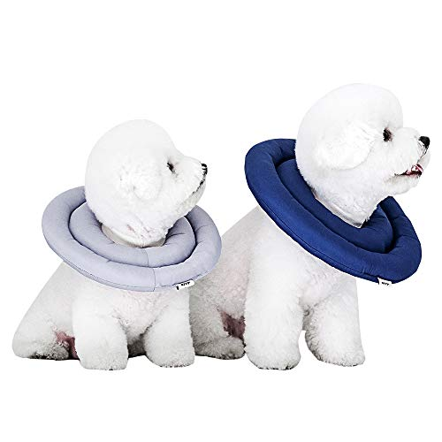 ARRR Dog Comfy UFO Recovery Collar, Water-Resistant Soft Adjustable Protective Cone After Surgery for Dogs and Cats, Elizabethan Collar (Medium, Navy)