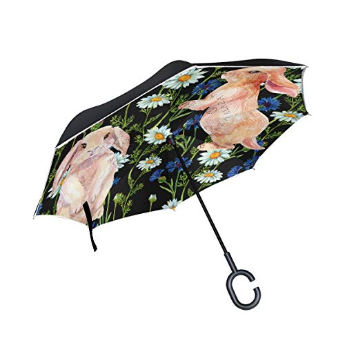 Rode paraplu, omgekeerd, winddicht, voor regen buiten, met C-handvat in konijnvorm, bloemenmotief, dubbellaagse verlenging, omgekeerd.