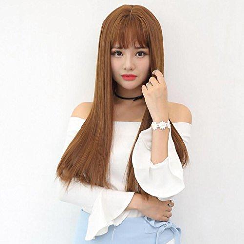 Longless Perruque Longue Ligne Droite tête Perruques Cheveux Jeux de big Bangs Perruque du Cuir chevelu de l'air définit