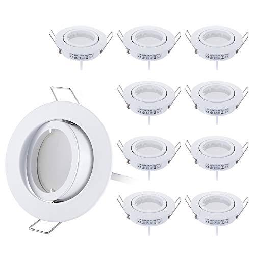 HCFEI 10er set LED Einbaustrahler dimmbar weiß schwenkbar 5W flach 230V Einbau-Spot Strahler Einbauspot 68mm Bohrloch, 120°Abstrahlwinkel,Warmweiß 3000K