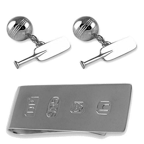 Select Gifts Argento Sterling cricket bat & ball gemelli James Bond denaro Clip Box Set