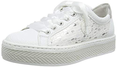 Rieker Damen Frühjahr/Sommer L8918 Slip On Sneaker, Grau (Weiss/Weiss-Silber/Weiss/Fog-Silver/ 81 81), 38 EU
