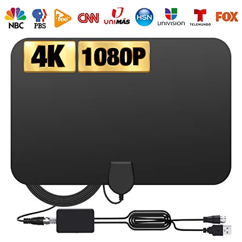 Amplified HD Digital TV Antenna 120 Miles, 2020 Newest Digital HDTV Antenna with Smart Signal Booster, Indoor TV Antenna Get 4K and 1080P Free Channels, 14.5ft Cable