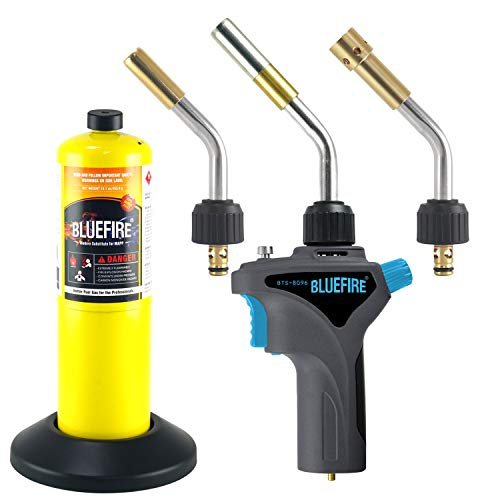 BLUEFIRE Metal Handle Swirl Flame Gas Welding Torch,Replaceable Tube,Fuel by MAPP MAP/PRO and Propane,Professional Grade Tool For Plumbing,HVAC,Soldering Brazing Heavy Duty (3 Tubes Torch MAPP Kit)