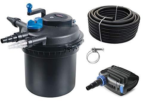 AquaOne Teich Filteranlage Set Nr.19 CPF 5000 Druckfilter 40W Eco Teichpumpe Teichgröße bis 8000l Teichschlauch Bachlauf UV Lampe