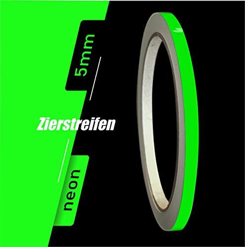 Siviwonder Sale Zierstreifen neon grün in 5 mm Breite und 10 m Länge für Auto Boot Jetski Modellbau Klebeband Aufkleber Dekorstreifen neongrün Fluor