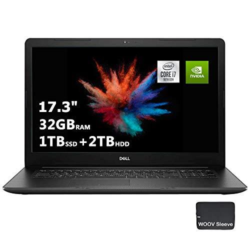 "Dell Inspiron Business Laptop | 17.3"" FHD | Quad-Core Intel i7-1065G7 | Dedicated NIVIDIA GeForce MX230 | 32GB DDR4 RAM, 1024GB PCIE SSD, 2TB HDD, DVD-RW, Bundled with Woov Sleeve, Windows 10, Silver"
