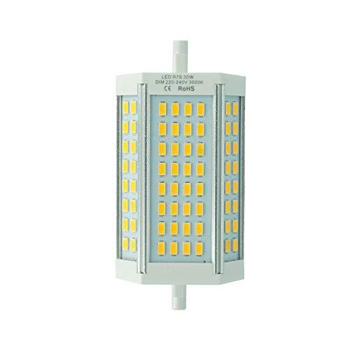 30W R7s LED dimmbare 118mm Lampe Warmweiß 3000K zweiseitige Sockel R7s Leuchtmittel 200 Grad 1-Stück Ohne Lüfter MEHRWEG …
