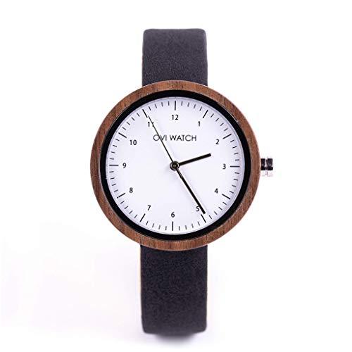 Damen Frauen Holzuhr 36mm mit Schwarz Vegane Leder Armband Uhr, Analog Japanisches Quarzwerk