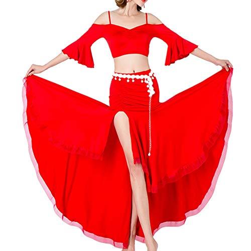 Jinzsnk - Falda de danza del vientre para mujer, perfecta para danza del vientre, color rojo, tamaño extra-large